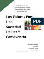 Los Valores Para Una Sociedad De Paz Y Convivencia