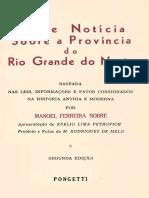Breve Notícia Sobre a Província Do Rio Grande Do Norte. NOBRE, Manoel Ferreira. 1971