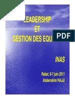 Leadership Gestion Equipes INAS Directeurs Juin 2011