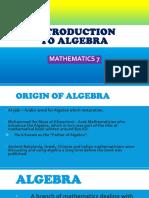 INTRODUCTION OF ALGEBRA by Jennifer Damasco BSE Math 3B (Group 5)