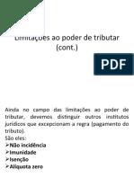 Limitações cont.; conceito de trib.; classificação