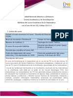 Syllabus Del Curso Enseñanza de La Matemática Con El Uso de Las TIC