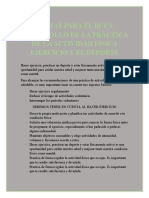 PAUTAS PARA EL BUEN DESARROLLO DE LA PRÁCTICA DE LA ACTIVIDAD FÍSICA EJERCICIO Y EL DEPORTE