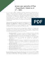 Decreto Supremo que aprueba el Plan Nacional de Seguridad y Salud en el Trabajo 2017