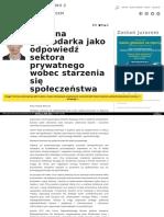 Srebrna gospodarka jako odpowiedź sektora prywatnego wobec starzenia się społeczeństwa