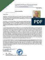 7 Février, 2021 Appel à une adhérence nationale sur le choix d'un  PRESIDENT PROVISOIRE