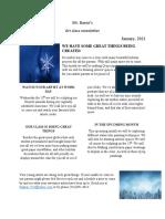 Art Class Monthly Newsletter