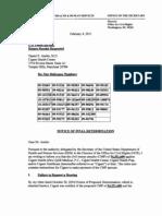 Notice of Final Determination of HIPPA Violations of Cignet
