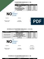 schedule of PRELIM exam