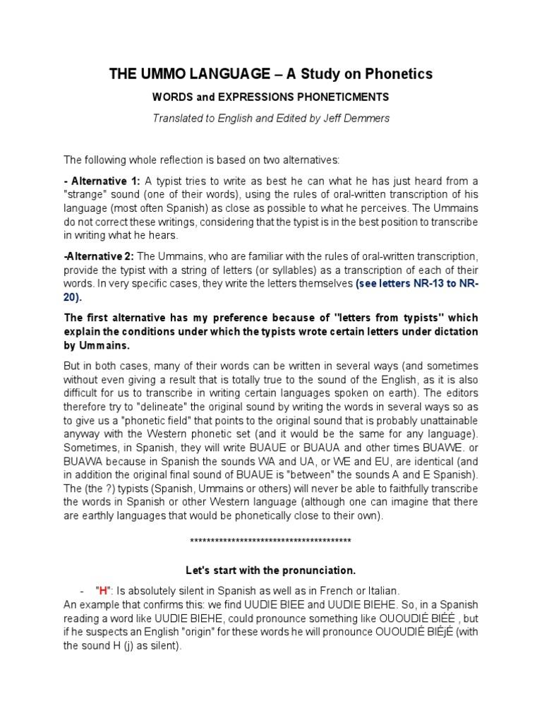 The UMMO Phonetic Language  PDF  Phoneme  Idea