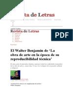 El Walter Benjamin de 'La obra de arte en la época de su reproducibilidad técnica' _ Revista de Letras