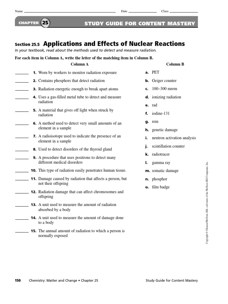 25 5 ionizing radiation nuclear reactor rh es scribd com chemistry matter and change study guide ch 11