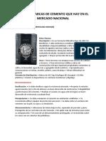 TIPOS DE MARCAS DE CEMENTO QUE HAY EN EL MERCADO NACIONAL