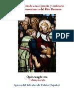Domingo de Quicuagésima. Propio y Ordinario de la santa misa
