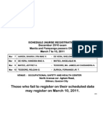 Initial Registration Schedule for New Nurses in Manila and Pampanga (Dec 2010 NLE)
