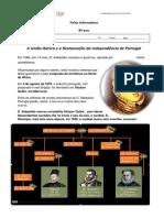 Ficha iNFORMATIVA união Ibérica e restauração da independência