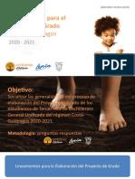 Lineamientos para el Proyecto de Grado Costa Galápagos 20-21