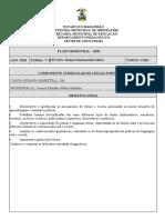 PLANO ANUAL DE LÍNGUA PORTUGUESA do 7º ANO B