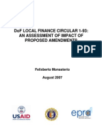 Dof Local Finance Circular 1-93 an Assessment of Impact of Proposed Amendments