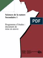 Sciences de la nature, secondaire 1, programme d'études