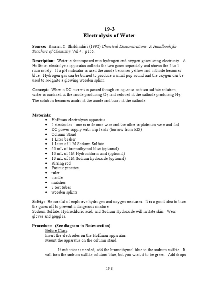 19-3 Electrolysis of Water | Sodium Hydroxide | Vacuum Tube