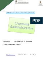 L'activité administrative