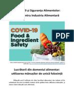 COVID-19 și Siguranța Alimentelor - Lucrătorii din domeniul alimentar