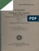 Catalogue of Sanskrit and Prakrit Manuscripts LDI Punyavijayajis Collection Part 2 1965