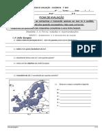 Teste 7º Ano Geografia Meio Natural - UE e Fatores Clima