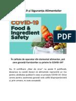 COVID-19 și Siguranța Alimentelor - În calitate de operator din domeniul alimentar, pot cere garanții furnizorilor cu privire la COVID-19?
