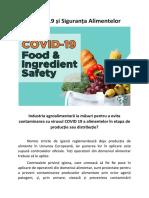 COVID-19 și Siguranța Alimentelor - Industria agroalimentară ia măsuri pentru a evita contaminarea cu virusul COVID 19 a alimentelor în etapa de producție sau distribuție?