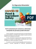 COVID-19 și Siguranța Alimentelor -  Pot fi contaminat prin contactul cu alimentele manipulate de persoane posibil infectate?