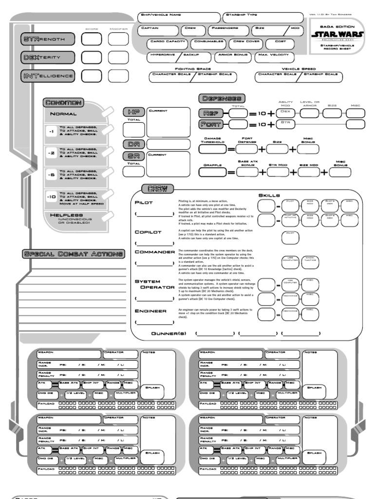 Star Wars RPG: Saga Edition Custom Starship Sheet