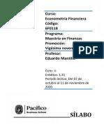 Sílabo Econometría Financiera - E. Mantilla MFIN29