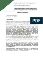 TDR Consultor Desarrollo Software SIAL ES Honduras 2016 VF