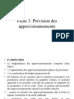 Fiche 3. Prévision des approvisionnements