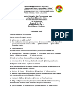 Evaluación final educacion fisica 6° y  7°