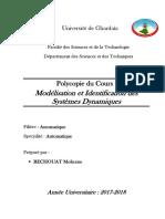 Modélisation Et Identification Des Systèmes Dynamiques