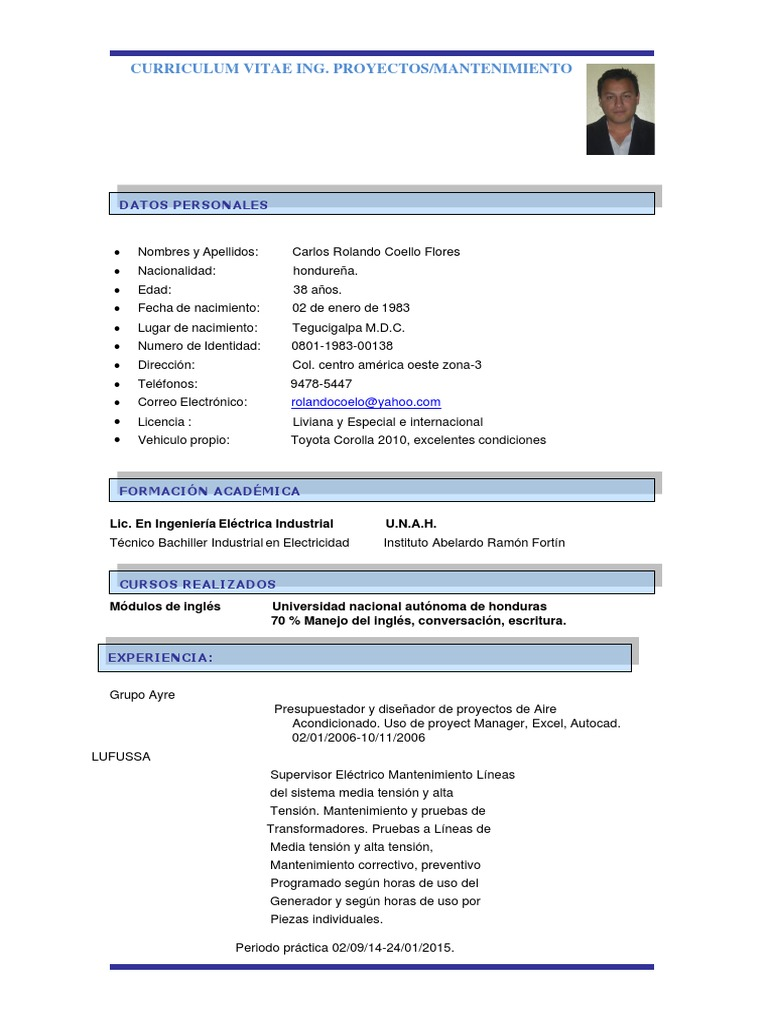 Curriculum Ing Electrico Carlos Coello Honduras Tecnologia E Ingenieria