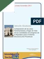 ESTAS SON LAS CARACTERISTICAS DE LOS CANDIDATOS AL CONGRESO EN LA REGION LIMA