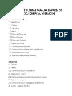 CATALOGO DE CUENTAS PARA UNA EMPRESA DE SERVICIO