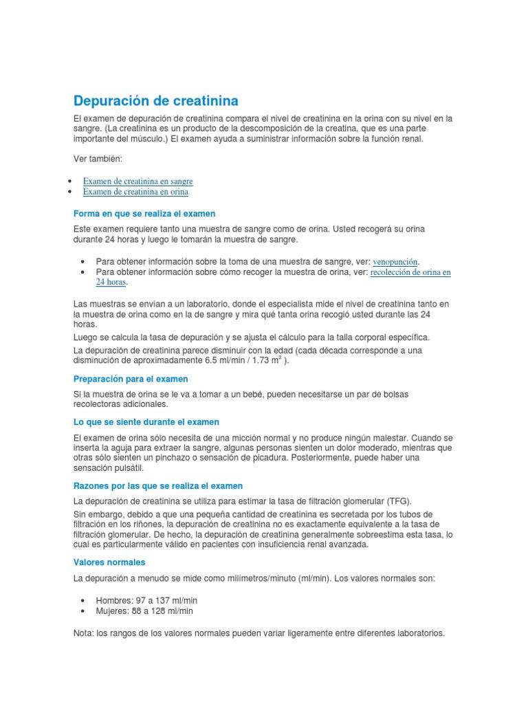niveles normales depuracion creatinina orina 24 horas