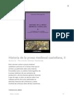 Historia de la prosa medieval castellana II