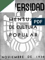 Revista de la Universidad noviembre-1936