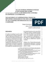 La Incidencia de Las Normas Internacionales de La Informacion Financiera Sobre La Revelación de La Informacion Contable en Empresas Colombianas