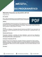 Conteúdo Programático - Matemática Financeira com Excel 2013 e HP 12C