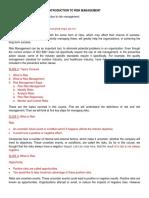 Introduction to Risk Management Video Transcription