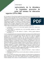 La política universitaria de la dictadura militar en la Argentina (1976 - 1983)