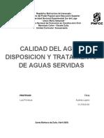 trabajo de calidad de agua, disposicion y tratamiento de agua servidas