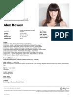Alex Bowen Agency CV